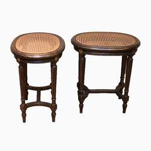 French Beech Cane Seat Stools, 1910s, Set of 2