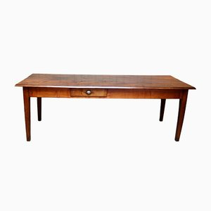 French Cherry Wood Farmhouse Table, 1910s