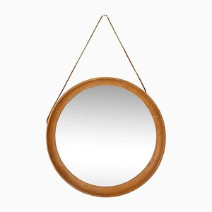 Teak Mirror with Leather Strap, Denmark, 1960s