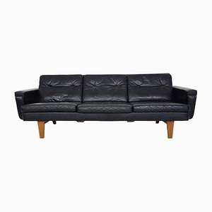 Mid-Century Black Leather Sofa by Bovenkamp, The Netherlands, 1950s