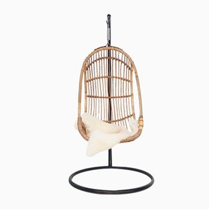 Egg-Shaped Bamboo Hanging Chair on Metal Base, 1960s