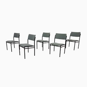 Metal Stacking Chairs Attributed to Gijs van der Sluis, the Netherlands, 1960s, Set of 5