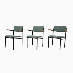 Metal Stacking Chairs Attributed to Gijs van der Sluis, the Netherlands, 1960s, Set of 3