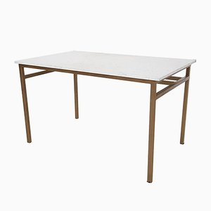 Vintage Metal and Marble Dining Table or Desk, 1960s