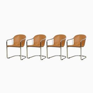 Verchromte Esszimmerstühle aus Cognacfarbenem Leder von Gastone Rinaldi für Fasem, Italien, 1970er, 4er Set
