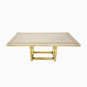 Dining Table in Travertine and Gold by Alain Delon, France, 1980s