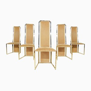 High Back Dining Chairs in Travertine and Gold by Alain Delon, France, 1980s, Set of 5