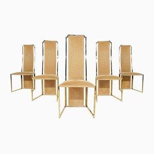 Sedie da pranzo con schienale alto in travertino e oro di Alain Delon, Francia, anni '80, set di 5