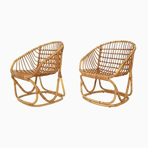 Sessel aus Bambus, 1960er, 2er Set