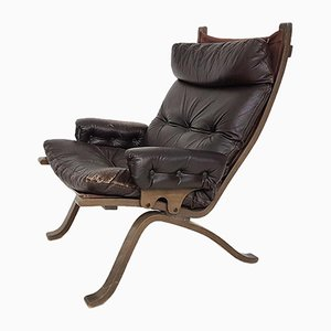 Leather Lounge Chair Attributed to Ingmar Relling for Westnofa, Norway, 1970s