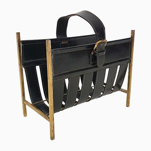 Dark Green Leather and Brass Magazine Rack by Zumpolle, the Netherlands, 1960s