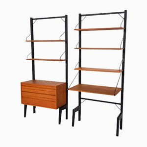 Royal Metal and Teak Wall Unit Poul Cadovius for Royal System, Denmark, 1950s, Set of 2