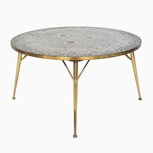 Round Brass and Mosaic Coffee Table by Berthold Müller, Germany, 1950s