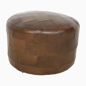 Small Brown Leather Patchwork Ottoman or Pouf, 1970s