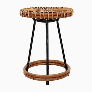 Rattan and Metal Stool from Rohe Noordwolde, the Netherlands, 1950s