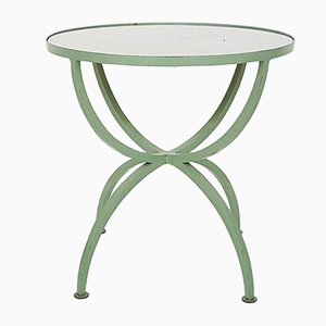 Art Deco Green Round Metal and Glass Side Table, France, 1930s