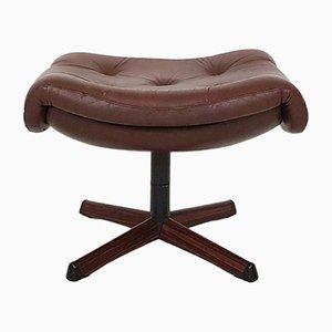 Reposapiés vintage de cuero marrón de Gotemobel, años 60