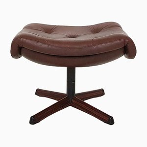 Vintage Brown Leather Footstool from Gotemobel, 1960s