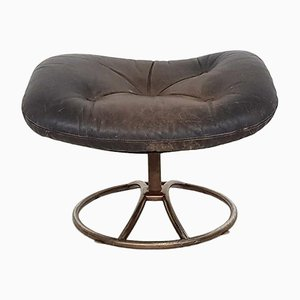 Vintage Brown Leather Footstool, 1960s