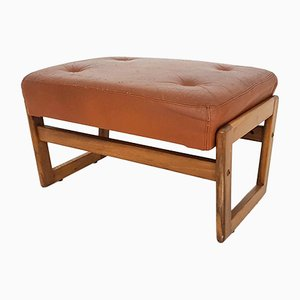 Cognac Leather Adjustable Footstool, 1960s