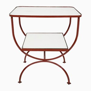 Art Deco Red Metal and Glass Side Table, France, 1930s