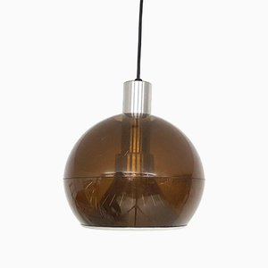 Brown Plexiglass Globe Pendant Lamp in the Style of Raak, 1950s