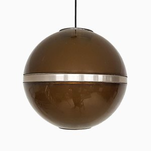 Dutch Brown Plexiglass Globe Pendant Light by Dijkstra, 1960s