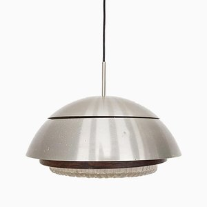 Mid-Century Aluminum, Glass, and Wood Pendant Lamp, 1960s