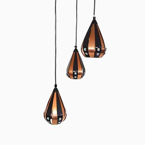 Vintage Copper Pendant Lamp with 3 Drops by Werner Schou