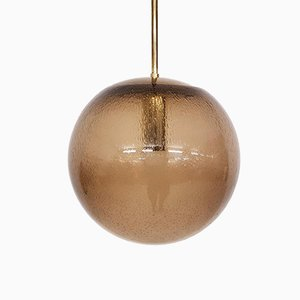 Mid-Century Dutch Glass and Brass Globe Pendant Lamp from Raak, 1960s