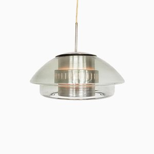 Vintage Glass and Metal Pendant Lamp