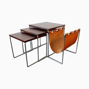 Mid-Century Rosewood Mimi Nesting Tables with Magazine Holder from Brabantia, Set of 3