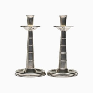 Art Deco Pewter Candleholders by GAB Tenn Svensk, 1920s, Set of 2