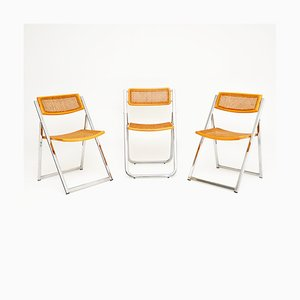 Italian Chrome and Cane Folding Chairs from Arben, 1970s, Set of 3