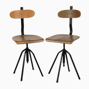 Vintage Industrial Black Swivel Chairs, 1960s, Set of 2