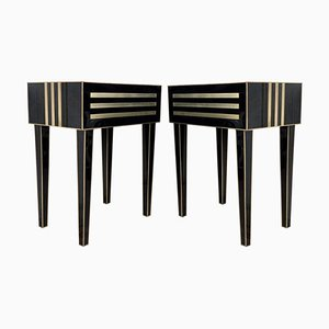 Handmade Black Crystal and Brass Nightstands by Zenza, Set of 2