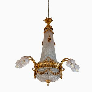 Art Nouveau Gold-Plated Brass and Crystal 11-Light Chandelier