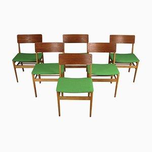 Sedie da pranzo vintage in teak e quercia di Farstrup Møbler, Danimarca, set di 6