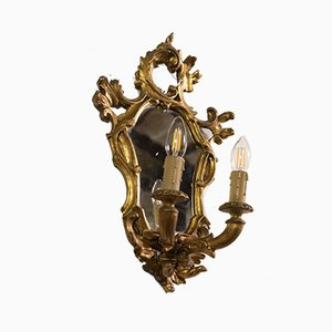 Vintage Rococo Style Carved and Gilded Wood Sconces with Mirror, 1950s, Set of 2