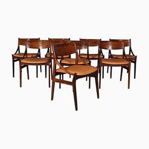 Palisander Esszimmerstühle von Vestervig Erikson, 1960er, 8er Set