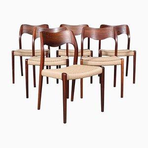 Palisander Esszimmerstühle von Niels Otto Møller, 1960er, 6er Set