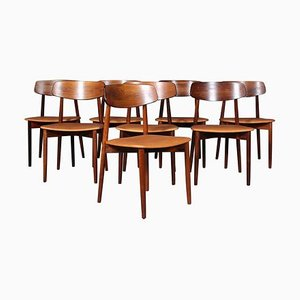 Rosewood and Tan Aniline Leather Dining Chairs by Harry Østergaard, 1970s, Set of 8