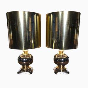 Lampes de Bureau en Céramique Dorées et Argentées, 1970s, Set de 2