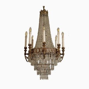 Empire Chiseled Brass 15-Light Ceiling Lamp, 1940s