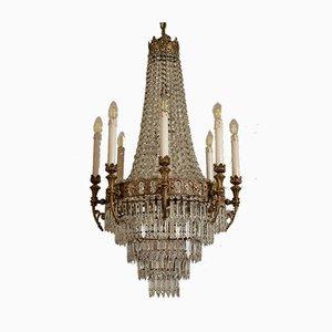 Plafonnier Empire à 15 Luminaires en Laiton Ciselé, 1940s