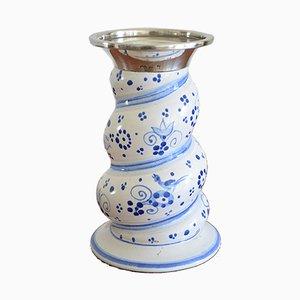 Vintage Ceramic and Silver Candleholder from Karlsruher Majolika, 1950s