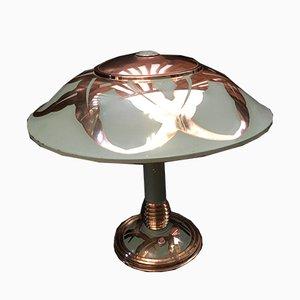 Art Deco Messing Tischlampe in Grüngrün