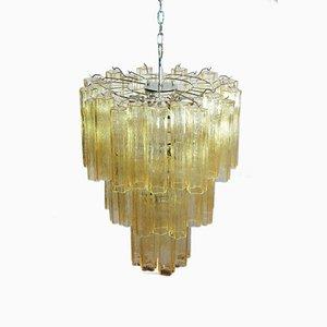 Lámpara de araña grande de cristal de Murano con tres niveles, 1981
