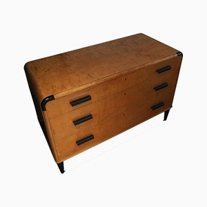 Art Deco Satinwood and Ebonized Accented Chest of Drawers from Bodafors, 1930s