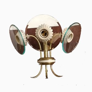 Italian Brass 3-Light Sconce by Pietro Chiesa for Fontana Arte, 1940s